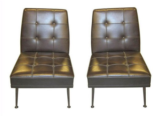 Pair of Mid Century Modern leather chairs