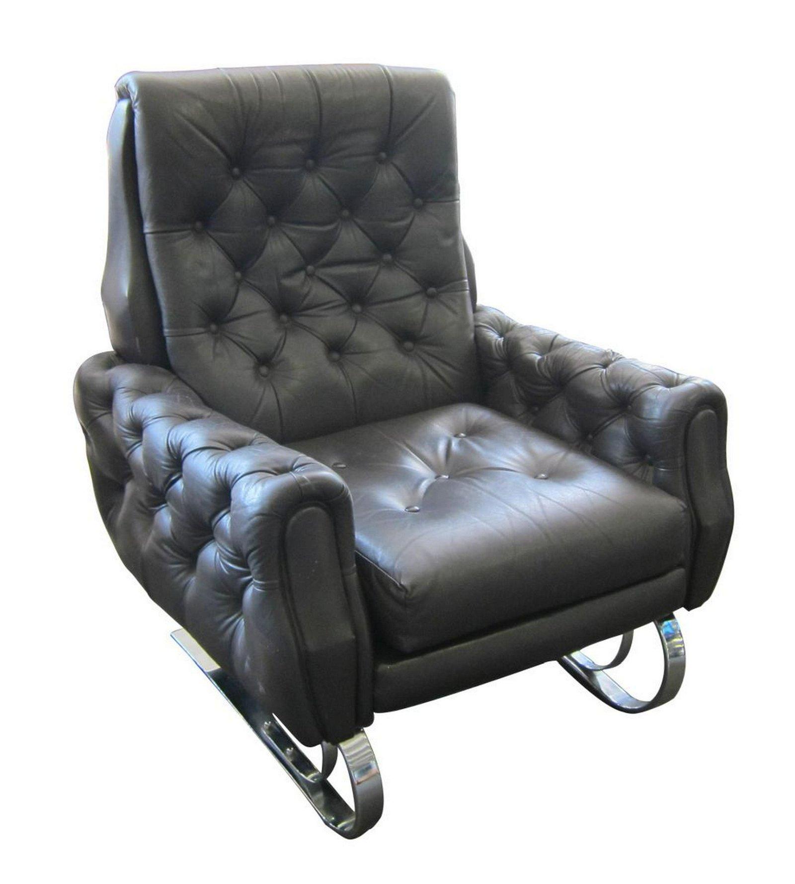 Vintage Italian design leather armchair