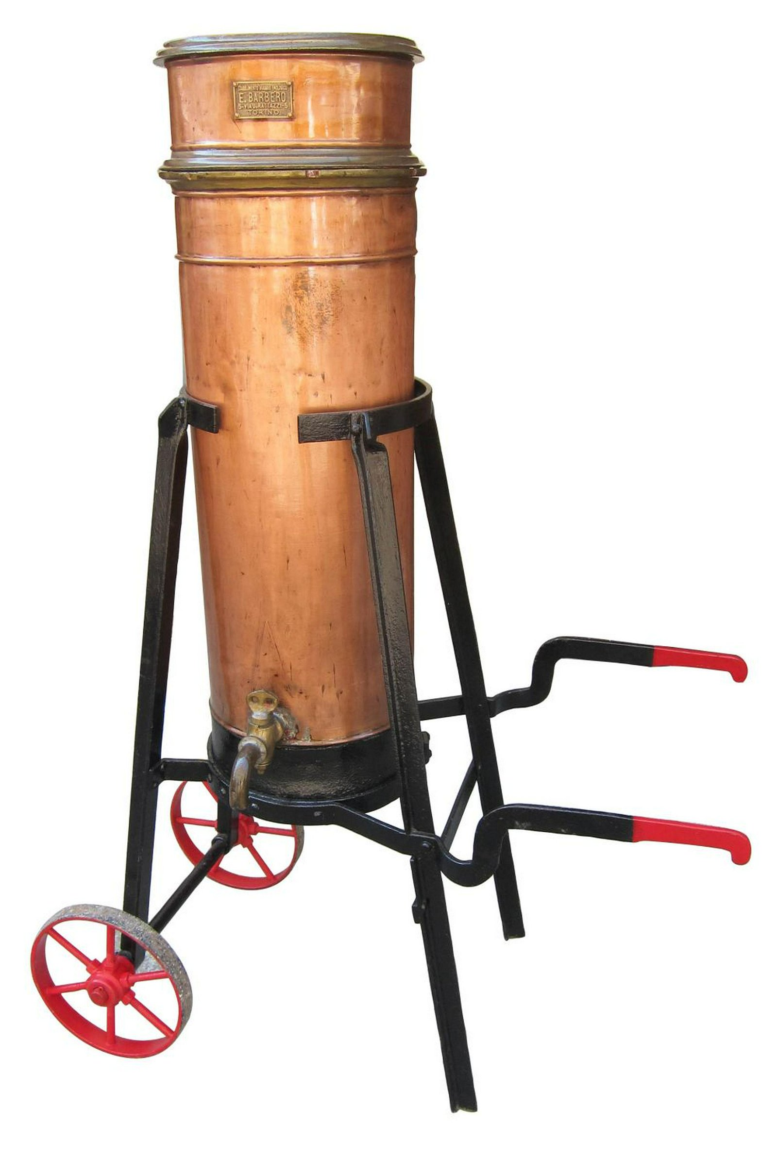 Antique copper and iron wine filter
