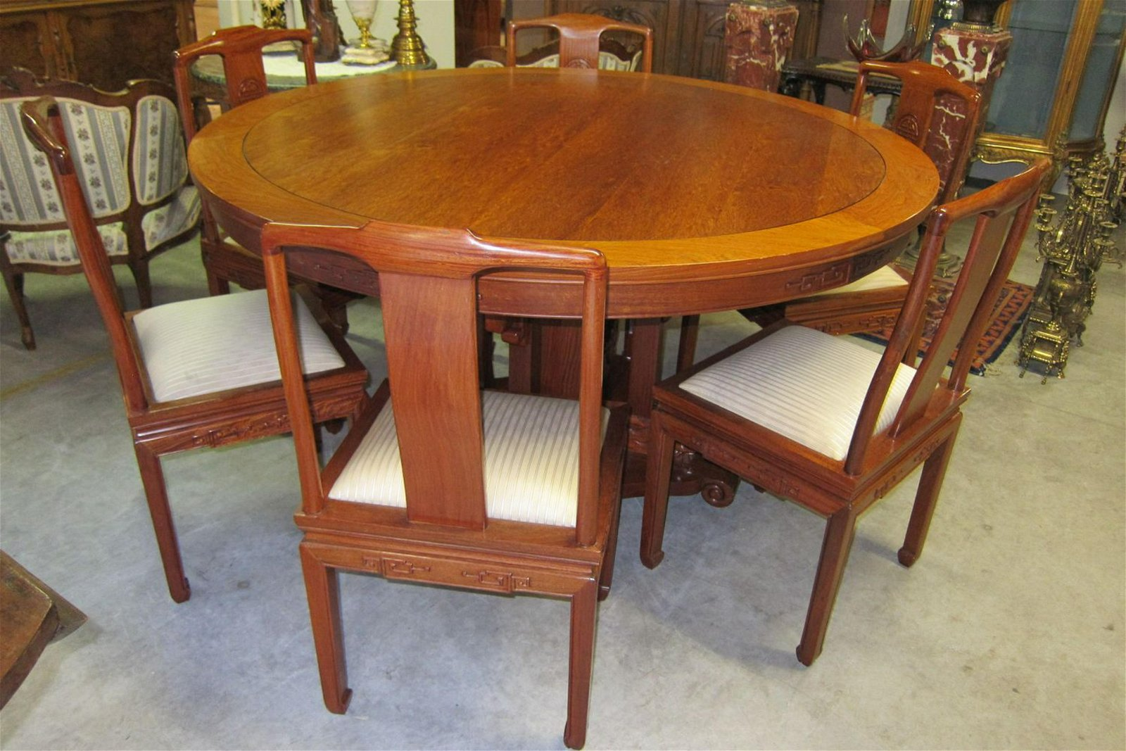 7-piece carved rosewood dinette set
