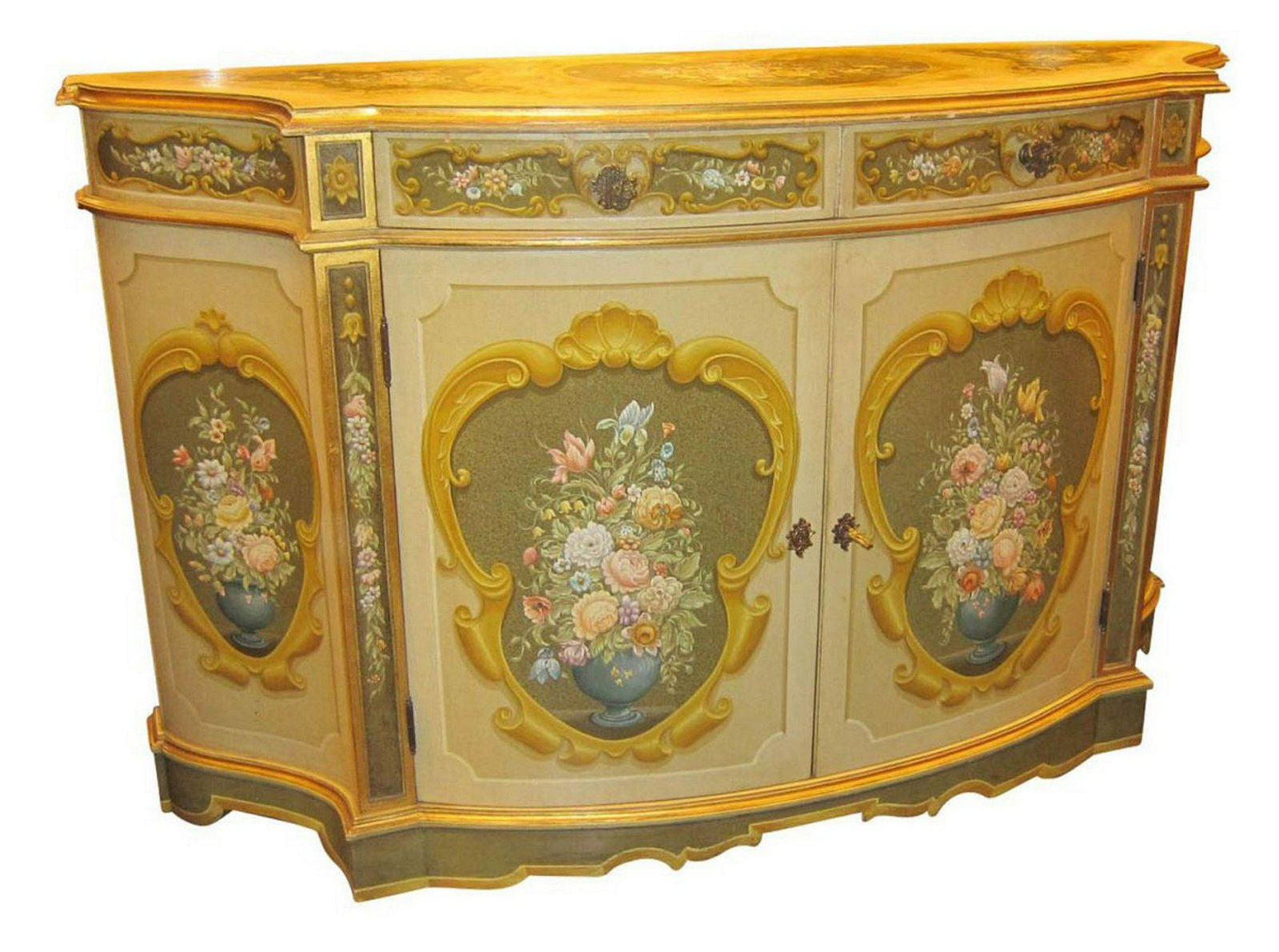Hand-carved and painted sideboard