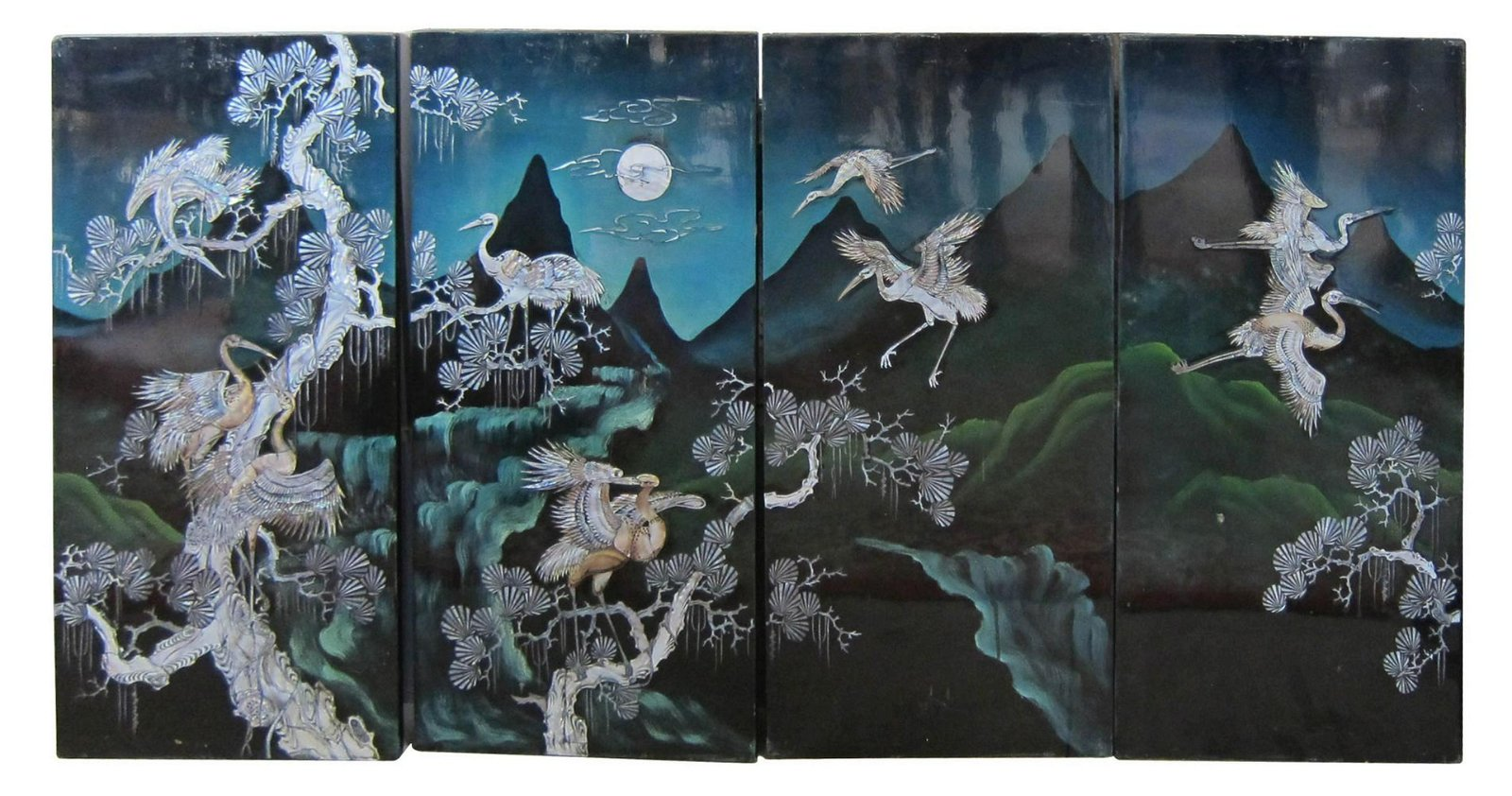 Chinese 4-part wall screen