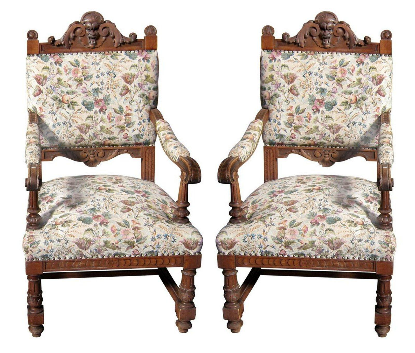 Pair of antique Henri II-style oak armchairs