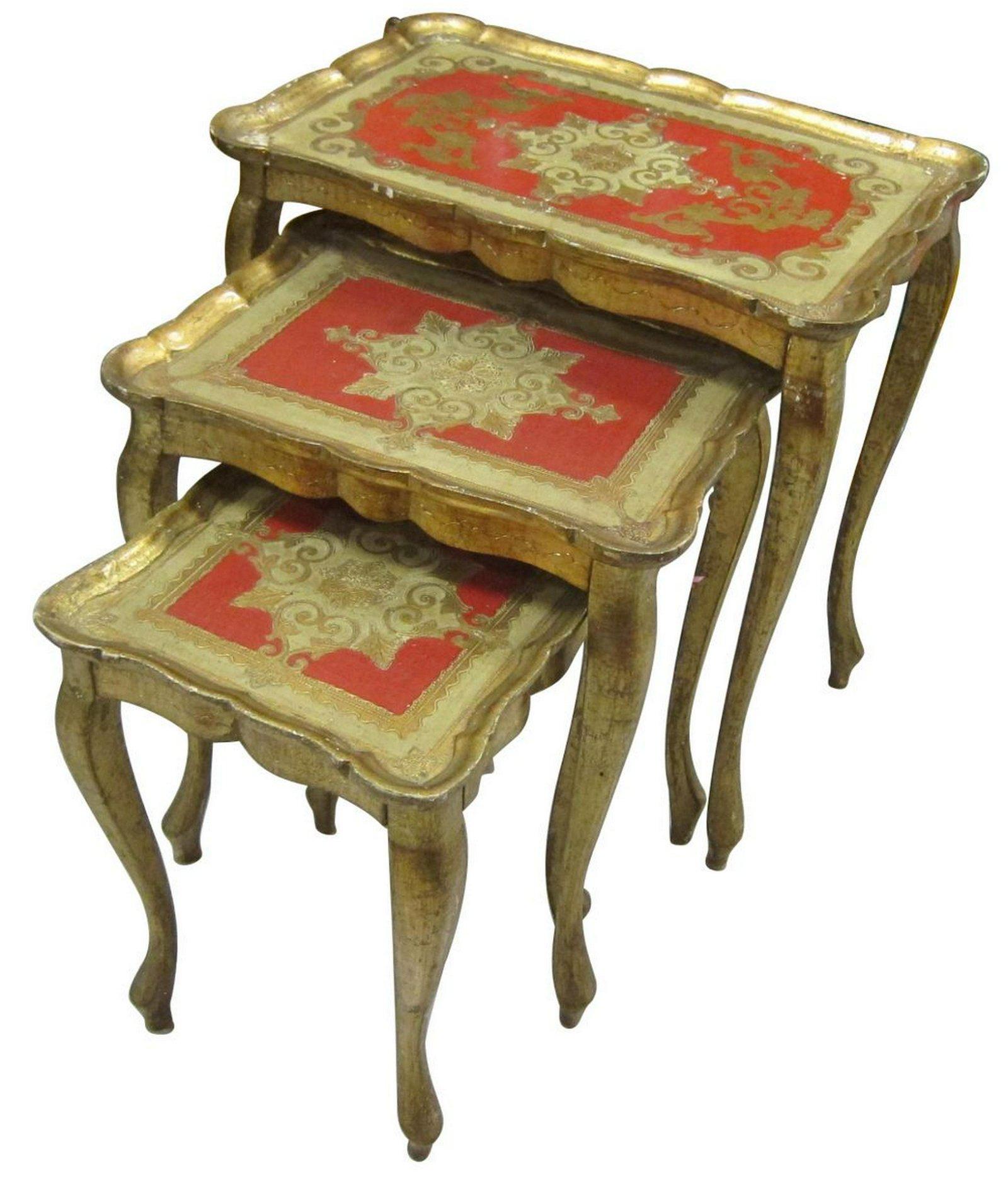 Set of 3 Florentine-style nesting table