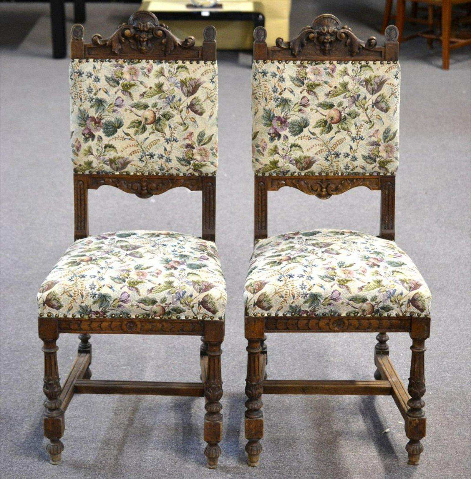 Pair of Henri II-style oak side chairs
