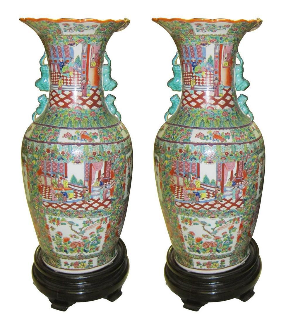Pair of Famille Verte porcelain palace vases
