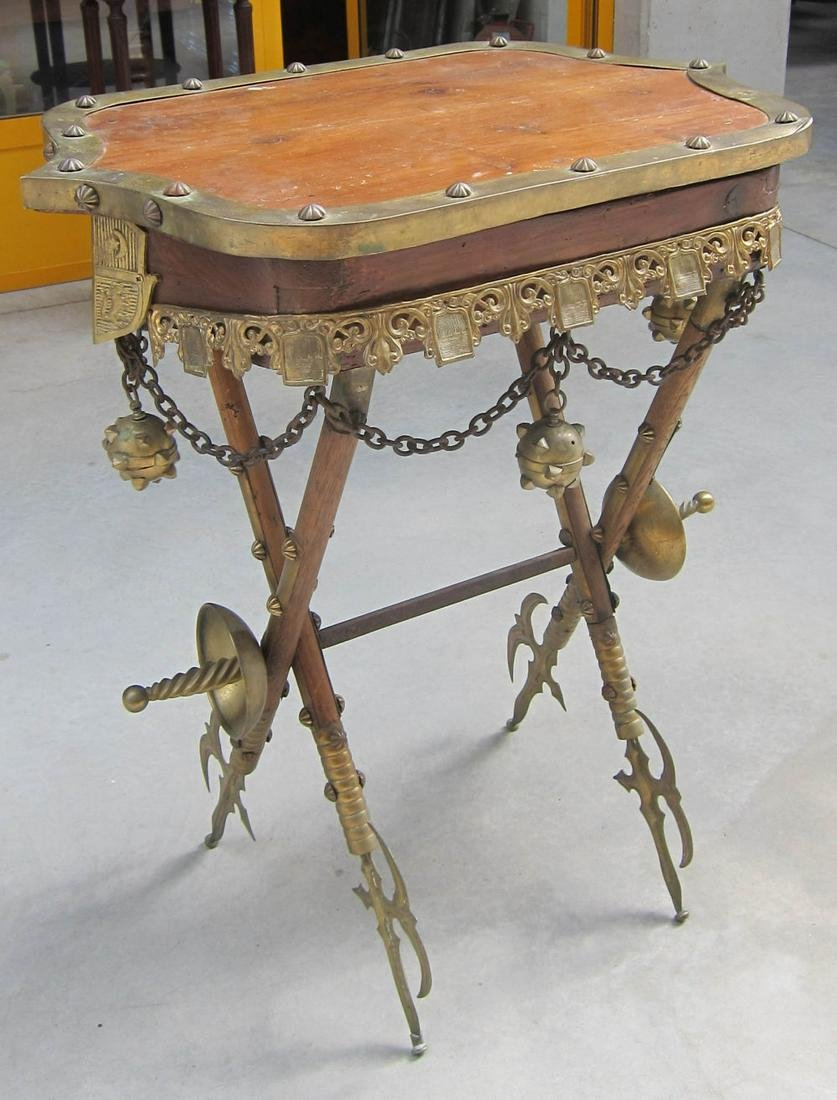 Medieval-style lift-top table