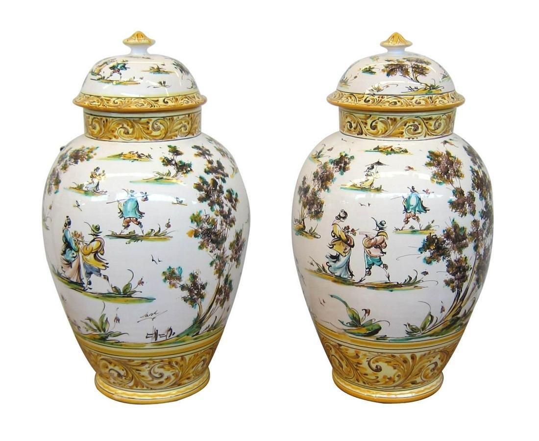 Antique Albissola porcelain urn