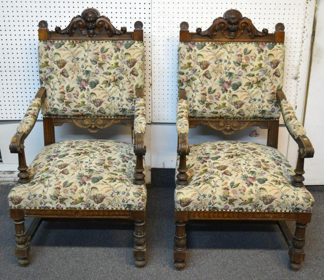 Pair of Henri II-style oak armchairs chairs