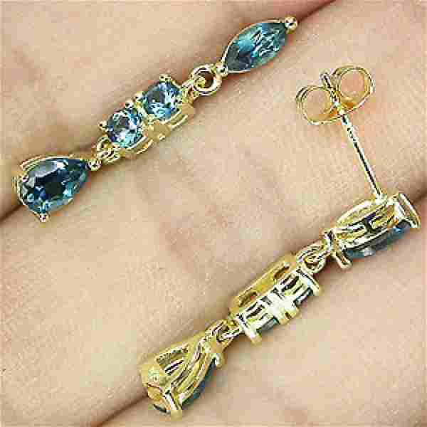 Sterling Silver 14ct Gold Plated London Blue Topaz