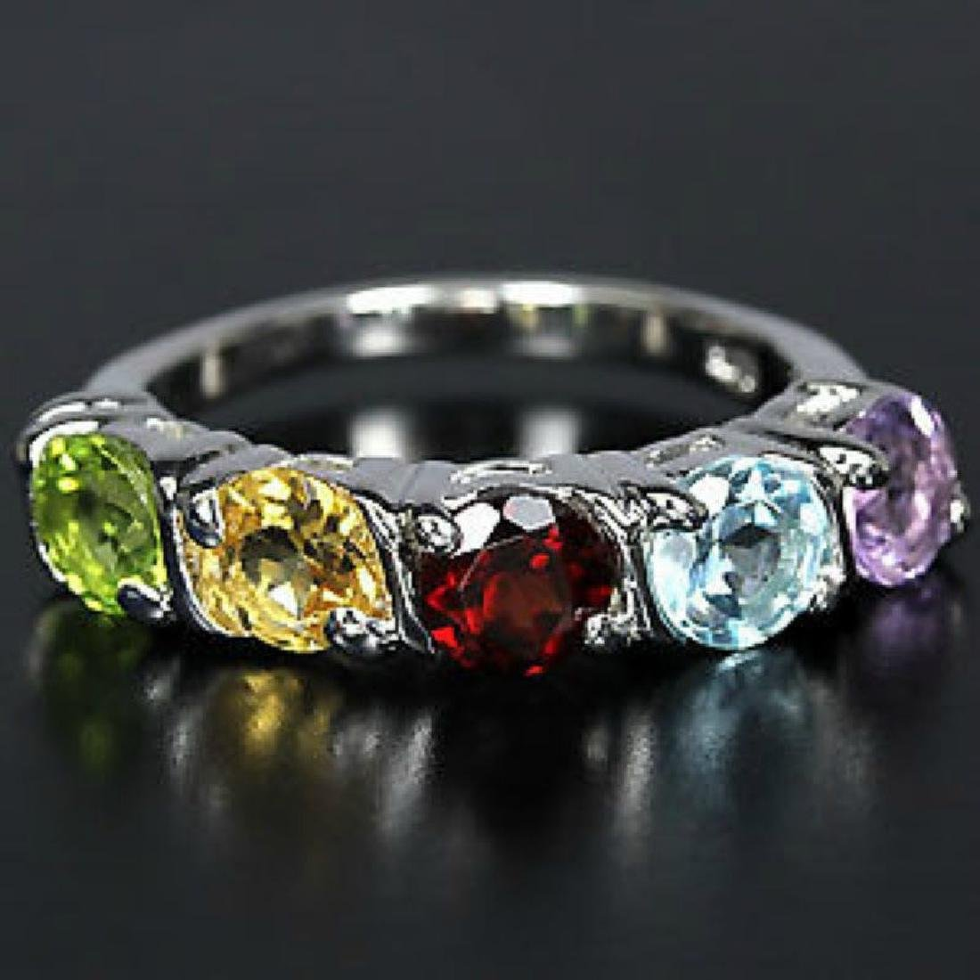 Sterling Silver Natural Mixed Gem Ring Size O (US 7.25)