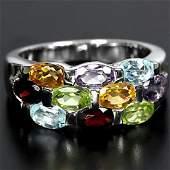 Sterling silver Genuine Gem Band Design Ring Size N.5