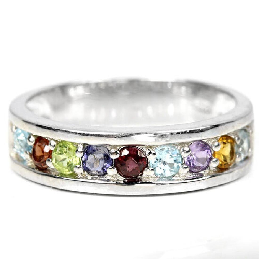 Sterling Silver Natural Gemstone Multigem Ring Size N.5