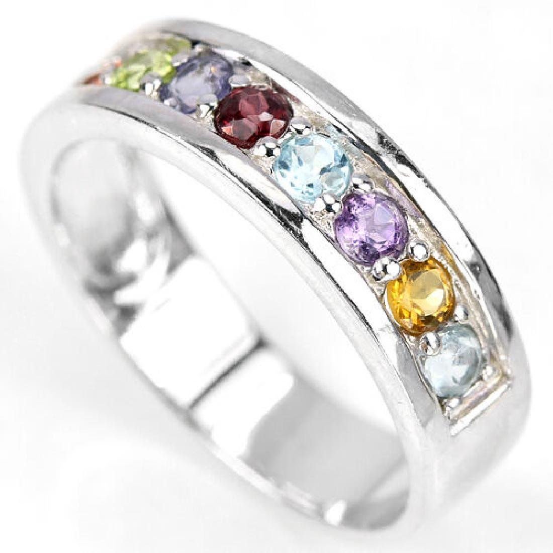 Sterling Silver Natural Gemstone Multigem Ring Size N.5 - 2