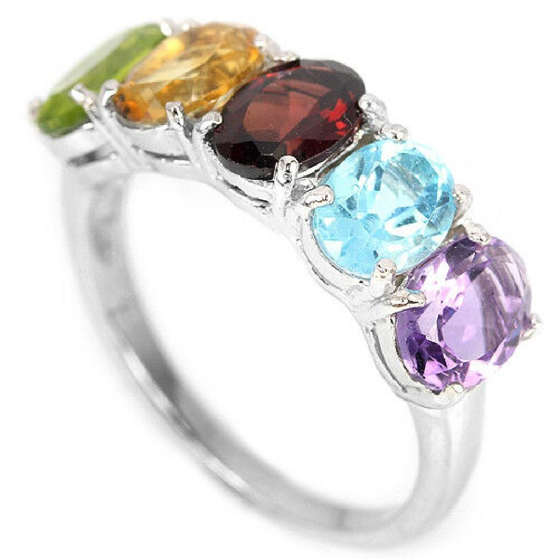 Sterling Silver Natural Mixed Gemstone Band Ring Size - 2