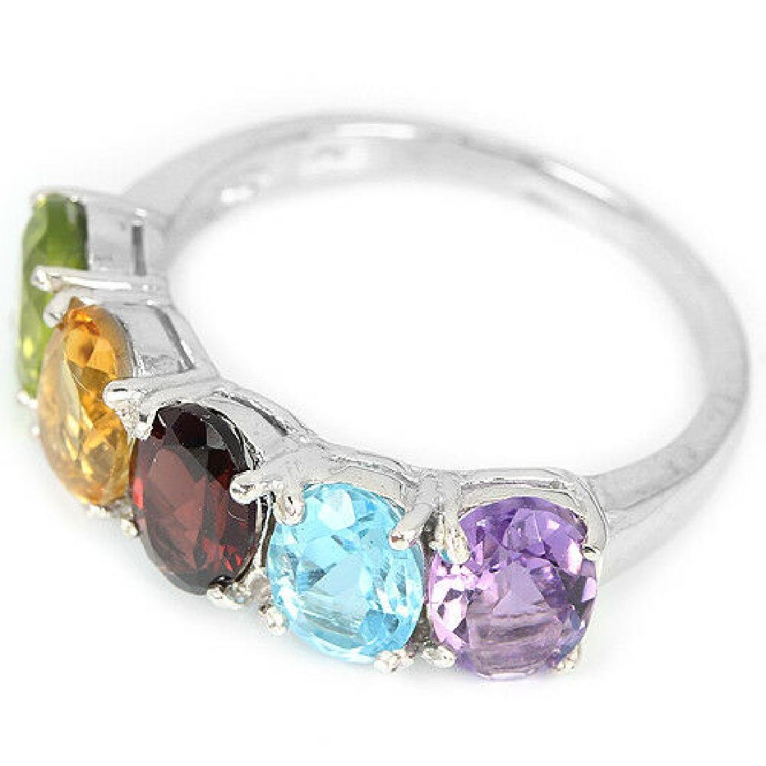 Sterling Silver Natural Mixed Gemstone Band Ring Size - 3