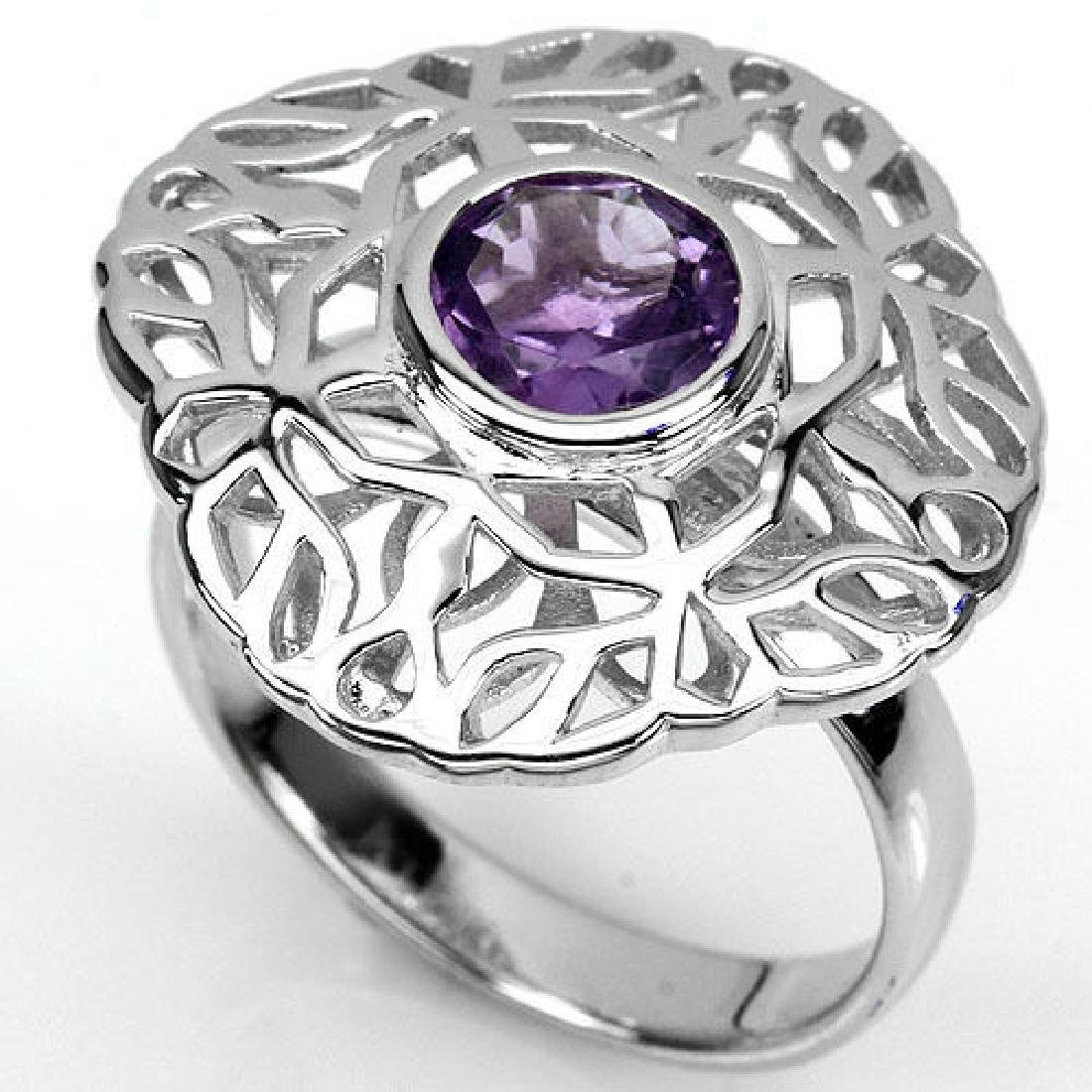 925 Sterling silver Amethyst Ring Size N.5 (US 7) - 2