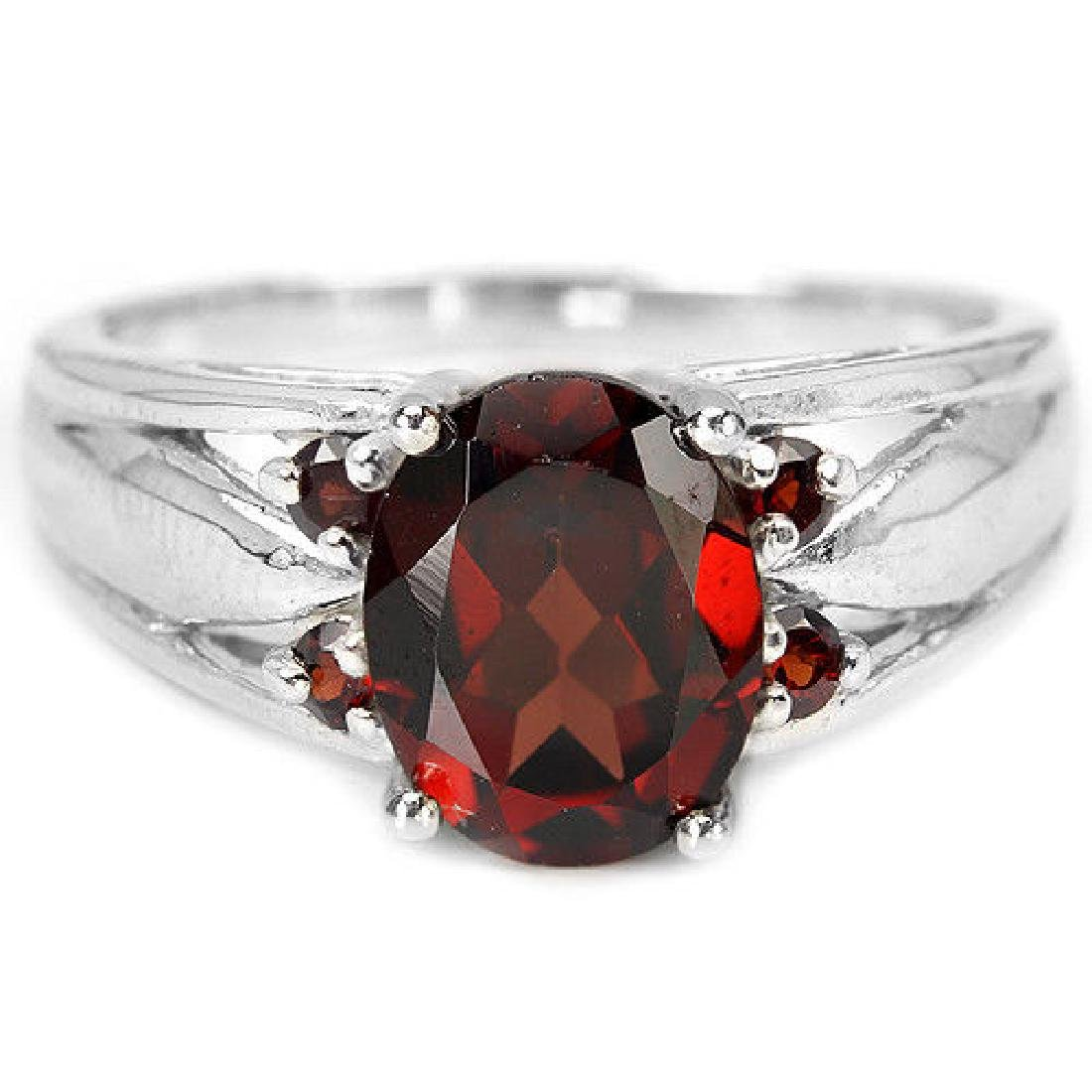 Sterling Silver Natural Garnet Solitaire Ring Size N US