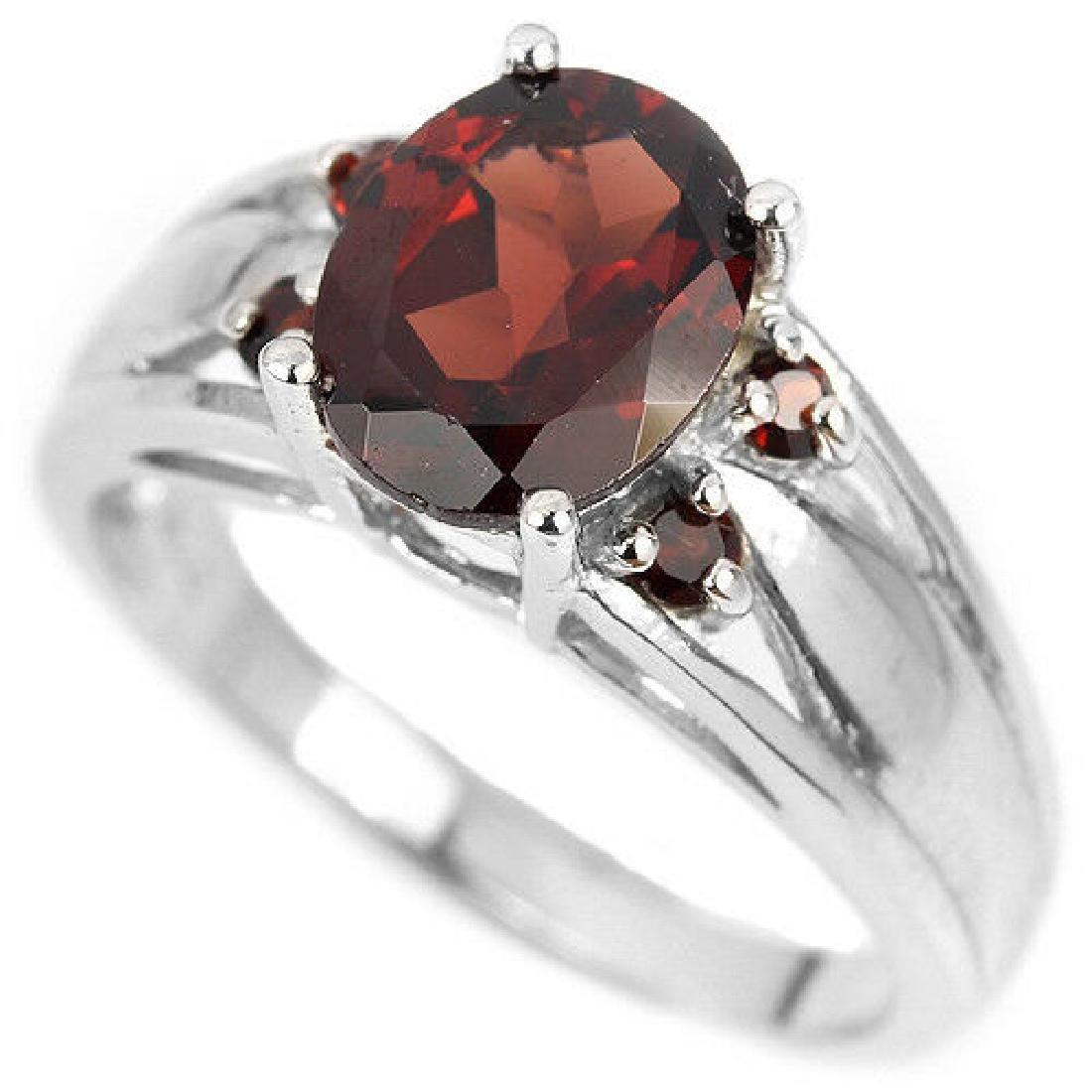 Sterling Silver Natural Garnet Solitaire Ring Size N US - 2