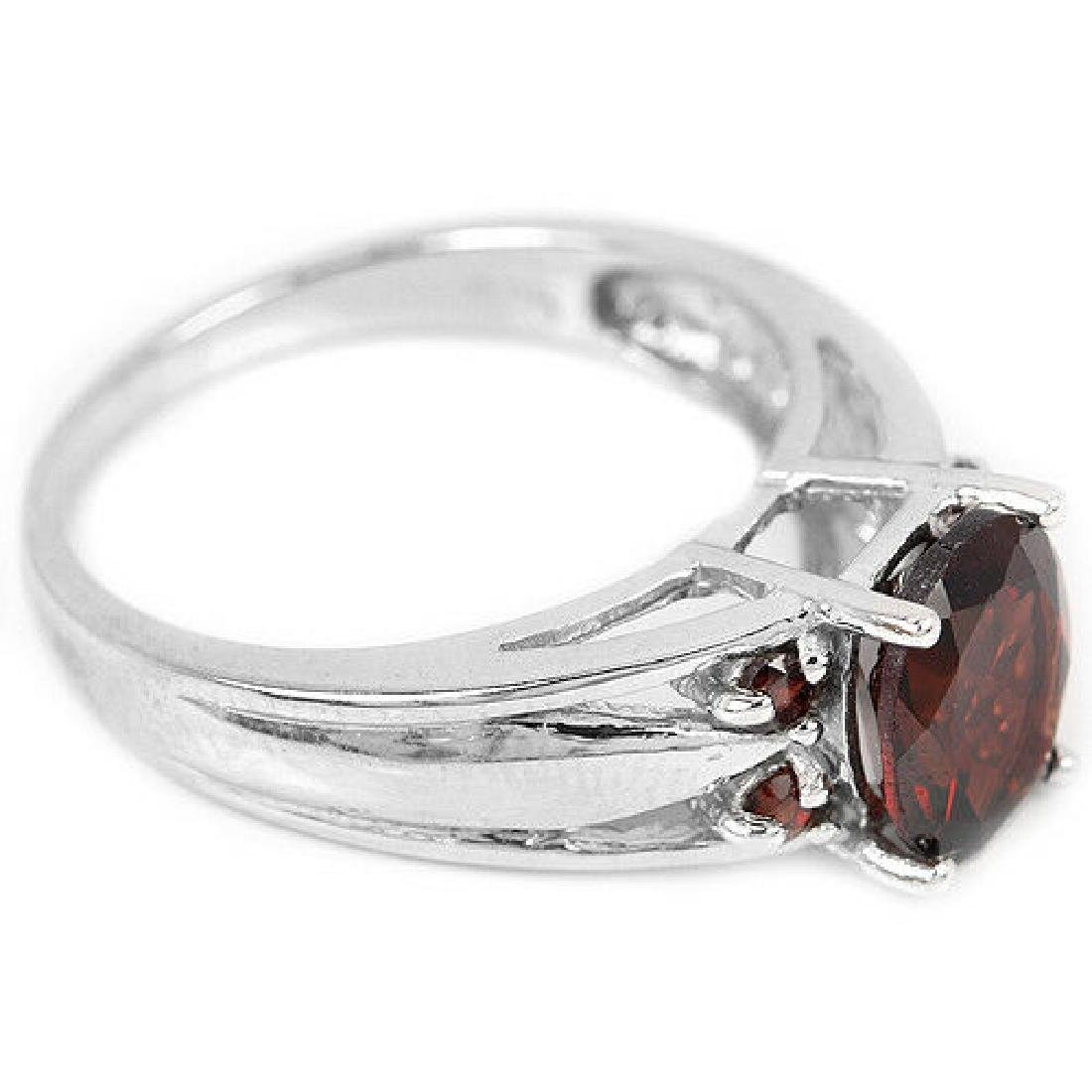 Sterling Silver Natural Garnet Solitaire Ring Size N US - 3