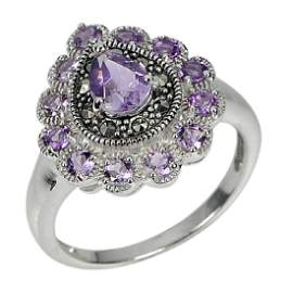 4.33 G.NATURAL AMETHYST 925 STERLING SILVER RING SIZE 8