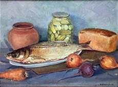 Fish, cucumbers, bread oil painting Shvidchenko V.