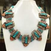 Tibetan Turquoise & Coral Handmade Chokar Necklace