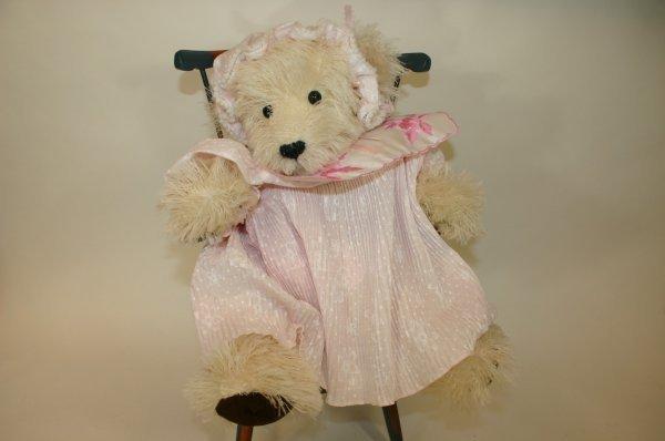 106: String White Wool Cuddly Baby Doll Bear