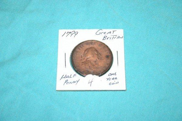 1004: 1799 Great Britain Half Penny