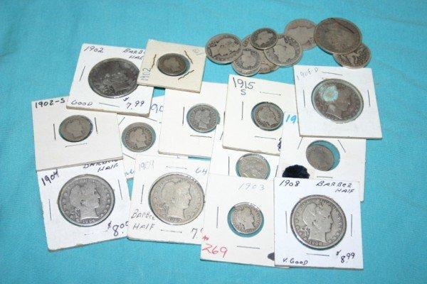 1022: Lot of Barber Halves, Quarters, Dimes