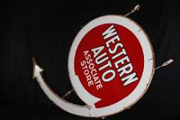PORCELAIN WESTERN AUTO PART STORE NEON SIGN
