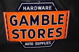 PORCELAIN GAMBLES STORES AUTO SUPPLIES NEON SIGN