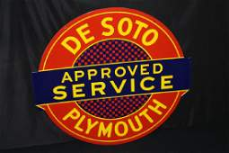 PORCELAIN DESOTO PLYMOUTH APPROVED SERVICE SIGN