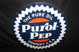 PORCELAIN PURE OIL CO PUROL PEP GASOLINE GAS SIGN