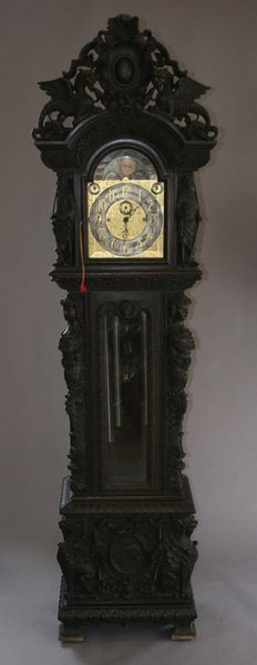 1: Tiffany & Co Carved Oak Horner Clock