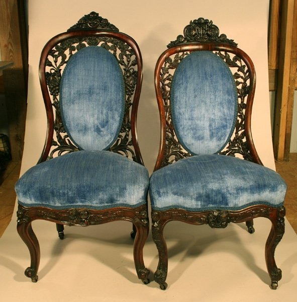 2: Pair Carved Belter His Hers Chairs