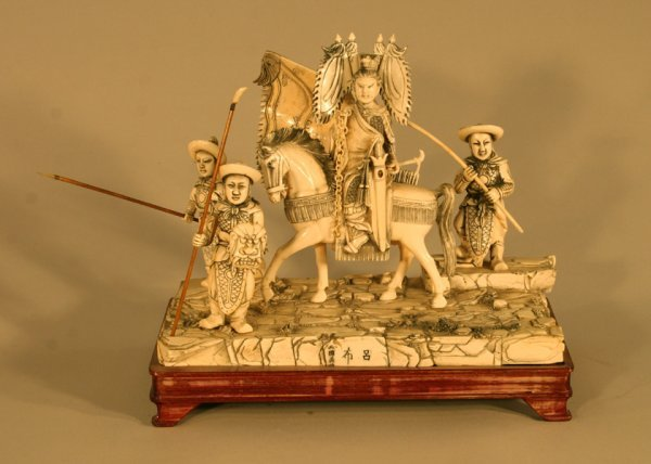 7: Woman Horse Warriors Carved Ivory Sculpture