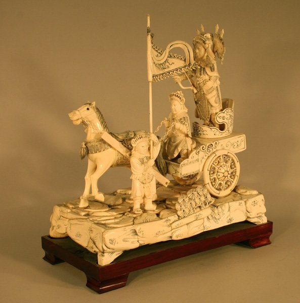 8: Chariot Horse Carved Ivory Sculpture