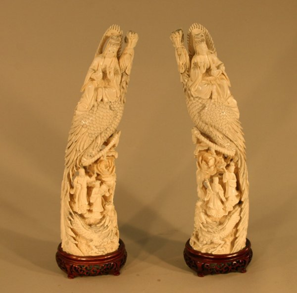 10: Carved Ivory Tusk Peacocks Men (Pair)