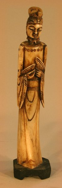16: Oriental Carved Ivory Woman With Bread