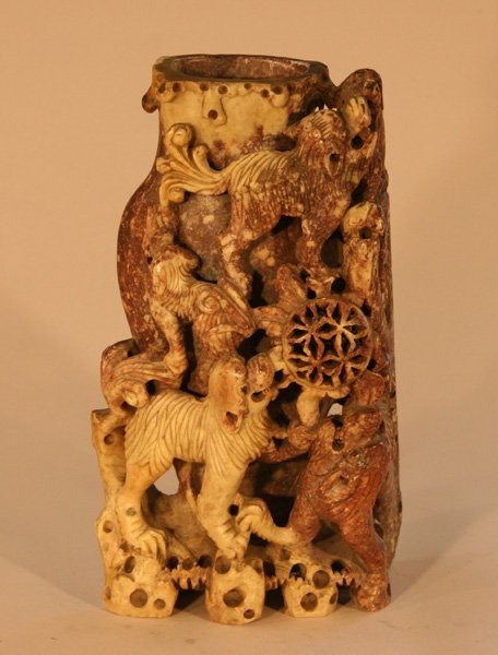 19: Oriental Carved Jade Statue Dogs