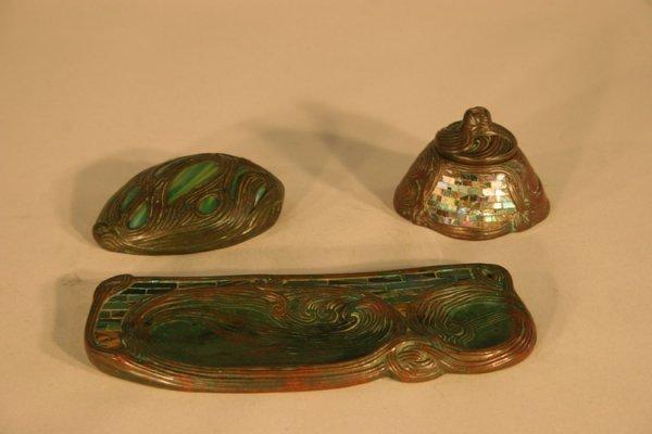 45: Tiffany Studios Bronze Mosaic Glass Desk Set