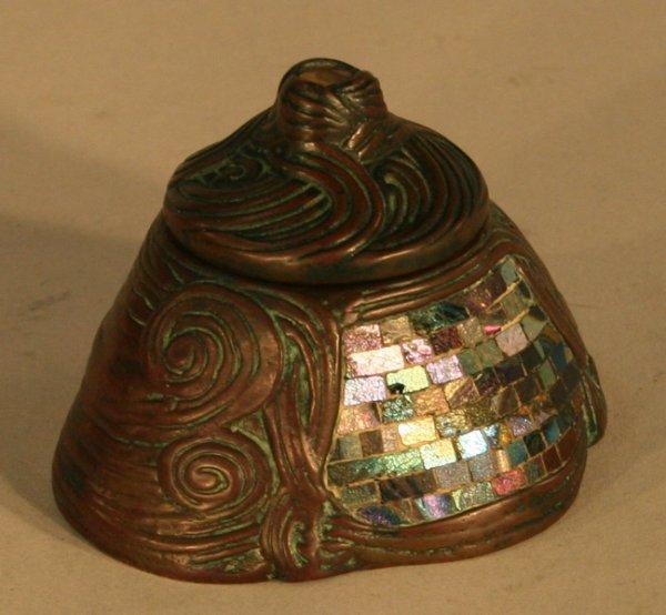 45: Tiffany Studios Bronze Mosaic Glass Desk Set - 3