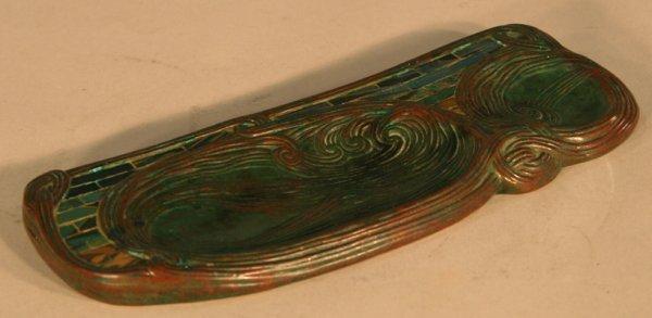 45: Tiffany Studios Bronze Mosaic Glass Desk Set - 5