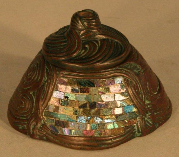 45: Tiffany Studios Bronze Mosaic Glass Desk Set - 6