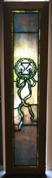 240: Tiffany Studios Stained Glass Window Plated
