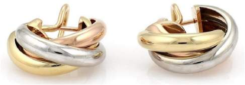 Cartier Trinity 18k Gold Interlaced Band Earrings