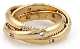 Cartier Trinity Diamond 18k Gold Rolling Ring