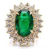 Sunburst Halo 7ct Emerald & Diamond 18k Gold Ring