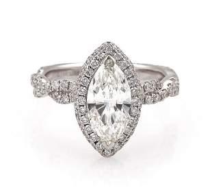 133ct Diamond 18k Gold Engagement Ring GIA Cert